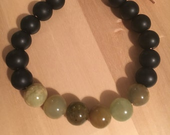 Mens Onyx and Jade on leather expanding bracelet, men's bracelet, expanding bracelet, black bracelet, black and green bracelet, gift for him