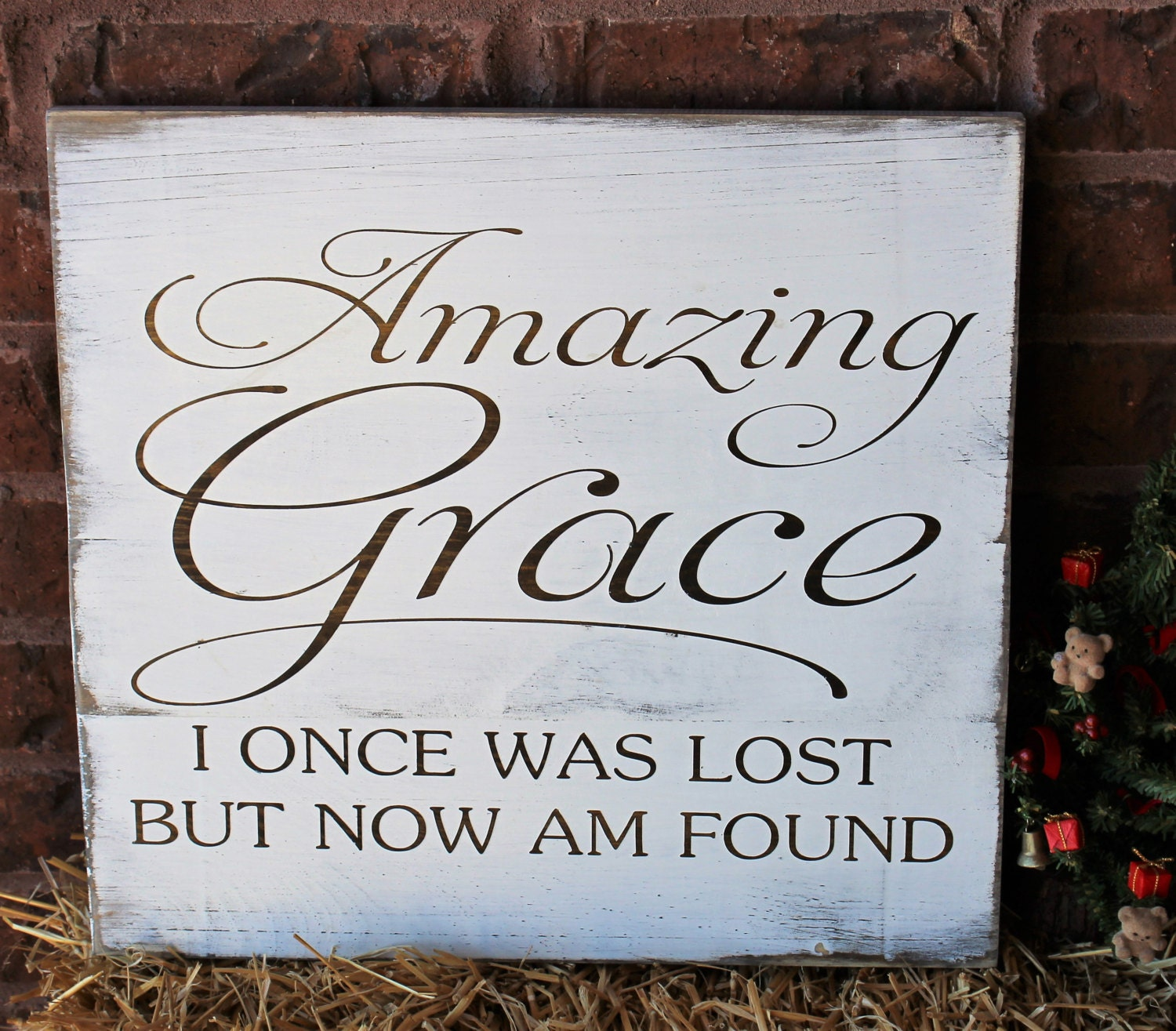 Amazing Grace: Amazing Grace I Once Was Lost But Now Am Found Pallet Sign