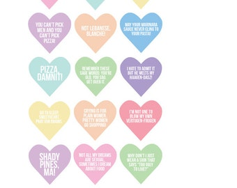 Golden Girls Stickers Quote Conversation Heart - Valentine's Day - Sticker Sheet - Dorothy Blanche Rose Sophia - Thank You for Being Friend