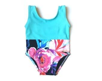 Baja Floral Baby Swimsuit | Floral Baby Leotard | Caribbean Floral Infant Bathing Suit