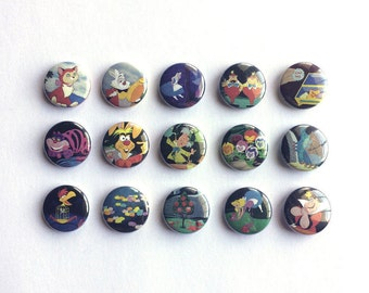 Alice in Wonderland Multi-Pack of 1 inch pinback buttons // Classic Disney Buttons