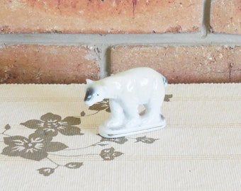 Polar bear mini figurine, glazing fault, 1960s vintage Japanese porcelain, collectable