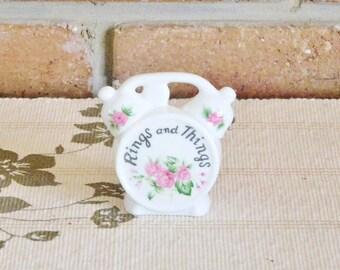 White porcelain wall pocket or dresser floral 'alarm clock' ring, trinket, jewellery holder vintage 1960s gift idea
