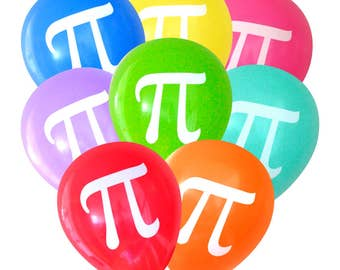 Pi Balloons - 8 Pack Math Balloons | 3.14 Party Decorations, Geeky Party, International Pi Day, Mathematician, Math Graduation Party Decor