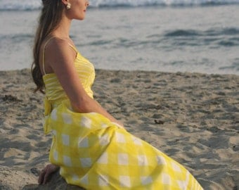 """Vintage 1960's Lorrie Deb Yellow Gingham and Striped Maxi Dress with Cape Size XS W-24"""""""