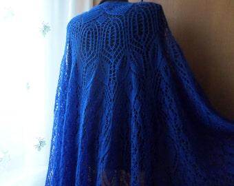 Indigo Blue Knit Shawl Lace Shawl Royal Blue Wrap Shawl Long Shawls Handknit Shawl Cobalt Blue Evening Shawls Wraps  Birthday Gift Knit Wrap