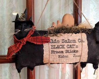 Primitive Handmade Black Witch Cat and Field Mouse Door Hanger