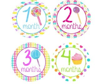 Baby Monthly Onesie Stickers, Girly Onesie Stickers, Cupcake Lollipop Onesie Stickers, Monthly Baby Stickers, Girlie, Colorful