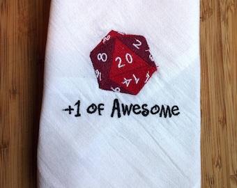 D20 Gamer Geek Tea Dish Towel PREMIUM