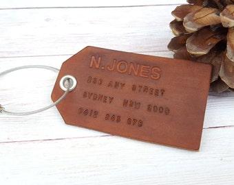 Personalized Leather Luggage Tag - Custom Address Luggage Tag - Customized Anniversary Bag Tag - Gifts under 20 - Wedding Gift
