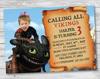How To Train Your Dragon Birthday Invitation - Your Child *Can* be Featured Riding Toothless' Back - Personalized Printable Invitation