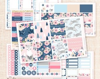 Foxy -  Planner sticker kit / 6 sheets - for the Erin Condren, Happy Planner