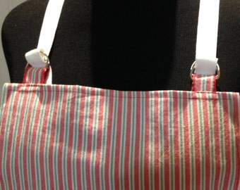 BBQ style full apron, women's apron,red striped, ticking stripe, sturdy cotton, adjustable, crossback, no tie apron, littlebird logo apron