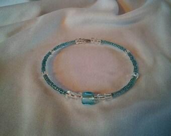 Blue Square Accent Clutch Bracelet