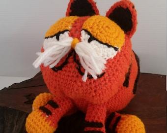Garfield Crochet Stuffed Cat, Handmade Garfield Plush Cat Toy, Garfield The Cat Orange Stuffed Crochet Toy Cat, Stuffed Orange Cat Garfield