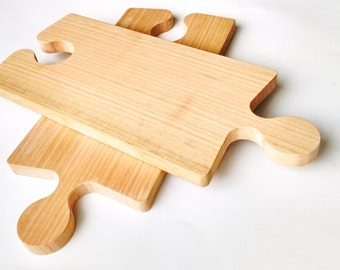 Set of TWO wooden puzzle-shaped cutting boards for tapas, cold cuts and wine glass