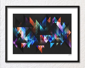 Modern Art Print Wall Abstract Digital Download Art Geometric Instant Download Printable Colourful Triangles Print Art Home Decor Pattern