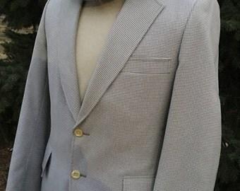 Vintage Men's Herringbone Polyester Suit, Size 40R