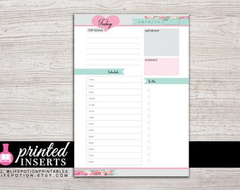 A5 Printed Planner Inserts - Daily Inserts - with Schedule and To Do - Filofax A5 - Kikki K Large - Design: Flirty Girl