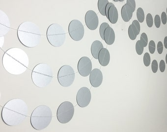 Party Decorations - Birthday Decorations - 1st Birthday Party - Silver Paper Garland- Silver Party - Wedding Garland - Bridal Shower