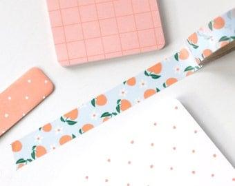 Peaches Washi Tape - 1 Roll:  Peach Light Blue Green - Peach Japanese Washi Masking Tape