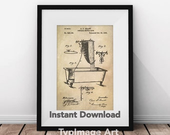 Bathroom Wall Decor, Artwork, Patent Art, Bathroom Patent, Bathroom Art, Patent Print, Shower Illustration, Printable Art, Printable Decor
