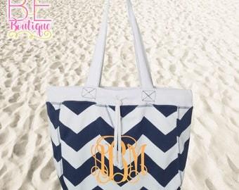 Chevron Beachcomber Tote Bag w/ Bling Glitter Monogram