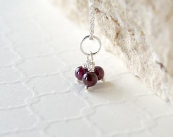 Garnet Pendant Trio - Sterling Silver Dangle Charm Beads -  Genuine Red Garnet Gemstone Necklace Jewelry - January Birthstone