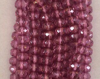 Gemstone Donut Beads, 4x6mm, Copper-French Rose, 1-46-C7050, 25 Beads, Czech Glass