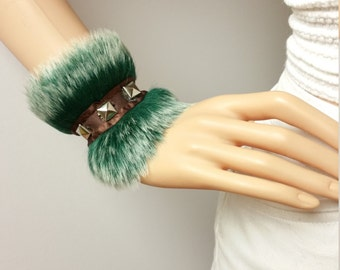 Cuff Bracelets: Frosty Tips Hunter Green, Jet Black Silver Studded Fancy Faux Fur Cuff Bracelets