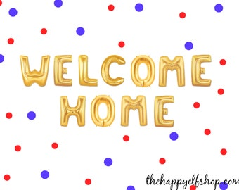 """16"""" Gold WELCOME HOME balloons/banner. Party Decor. homecoming party. welcome home party balloon. patriotic welcome. welcome home. usa. army"""