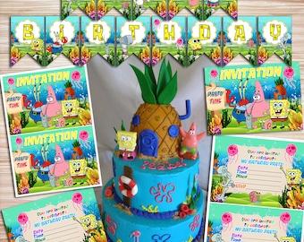 Sponge Bob Birthday Kit, Sponge Bob Party, Sponge Bob Invite, Sponge Bob Sticker, Sponge Bob Toppers, Sponge Bob Bday, Patrick Star Birthday
