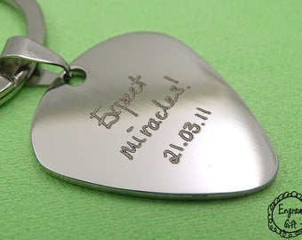 Custom Handwriting Steel Guitar Pick Your Handwritten Signuature Drawing Keychain Necklace -  Black / Silver