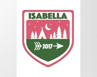 New Baby Custom Name Nursery Print, Digital Download, Printable Wall Art, Scout Badge, Personalized Camp Patch, Camping, Girls Room