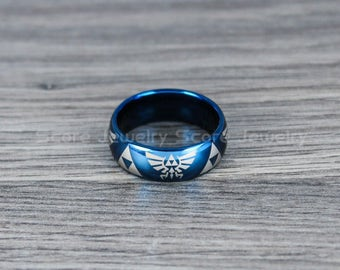 FREE SHIPPING FREE Custom Engraving Blue Tungsten Band with Domed Edge Zelda Triforce Pattern Ring- 8mm Blue Tungsten Wedding Ring
