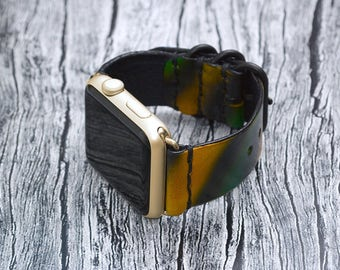 Leather apple watch band 42mm / 38mm // Multicolor iwatch band - apple watch accessories - apple watch strap leather - gold lugs adapter