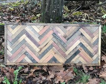Rustic Herringbone Wood Wall Art