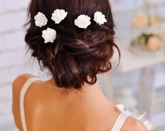 Wedding hair pin Bridal flower hair clip rose White hair pin Bridesmaid set Wedding hair jewelry Wedding hair piece Flower hair pin