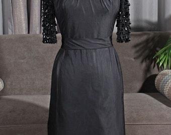Union Label AFL-CIO Black Dress with Beaded Sleeves, size 6/ Medium