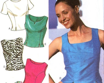 90s Style 2801 Sleeveless or Short Sleeve Top with Neckline Variations, Uncut, Factory Folded, Sewing Pattern Multi Size 8-18