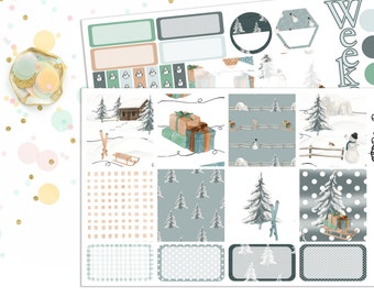Planner Stickers Horizontal Weekly Kit Winter Wonderland for your Erin Condren Life Planner, Plum Paper, Happy Planner or Inkwell