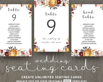 Fall wedding, diy seating cards, decor ideas, decorations, table number templates, guests reception, rustic themed, editable DIGITAL