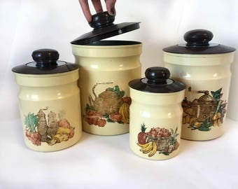 Vintage Canister Set Kitchen Canisters Round Canisters Vintage Kitchen Decor Vintage Kitchen Storage Containers Vintage Kitchen Containers