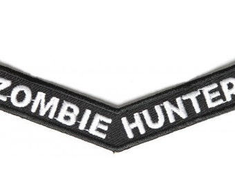 Zombie Hunter Stripe Iron On Patch - 4x1 inch Free Shipping Zombies P4210