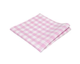 Blush Pink Gingham Pocket Square.Pink Plaid Cotton handkerchief.Mens checkered Hankies.Wedding.Pink Gift Set.Mens Gifts