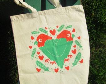 Lovebirds Cotton Tote Bag