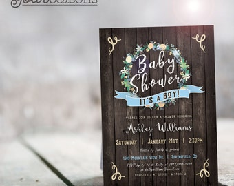 Rustic Boy Baby Shower Invitation - Printable DIGITAL FILE