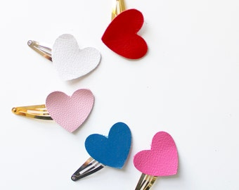 Leather hair clip - leather heart clip - baby hair clip - toddler hair clip - leather snap clips - girls hair clip - snap clips - small clip