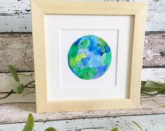 Planet Earth watercolour painting, framed watercolor painting, Mother Earth.