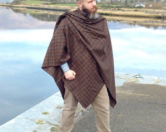 Irish tweed ruana, wrap, cape, - brown tartan with blue,navy,cream overcheck - 100% wool - ready for shipping - HANDMADE IN IRELAND